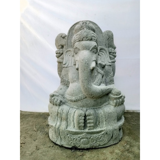 Statue de jardin en pierre volcanique GANESH Indouhisme 1m