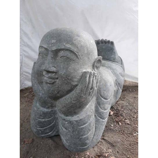 Statue de jardin moine allongé en pierre 1 m