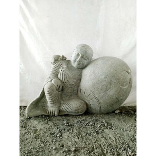 Statue de jardin moine shaolin en pierre naturelle 100 cm