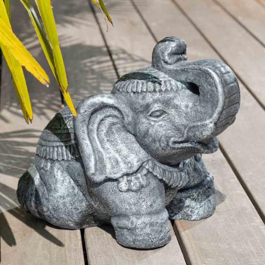 Statue Eléphant assis en pierre 40cm gris antique