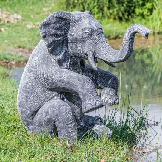 Statue éléphant patiné noir gris assis 95 cm
