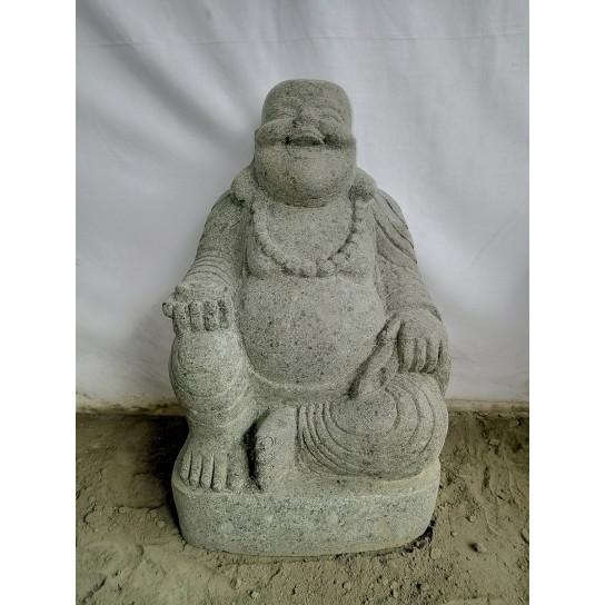 Statue en pierre de lave BOUDDHA RIEUR 60 cm