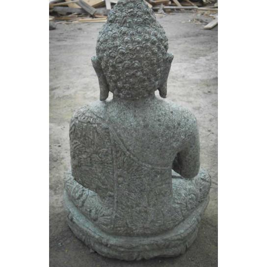 Statue en pierre jardin exterieur bouddha position pri re - Statue bouddha exterieur pour jardin ...