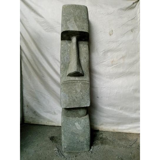 Statue en pierre naturelle Moaï debout 120 cm