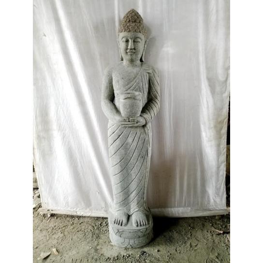 Statue en pierre volcanique Bouddha debout 1m