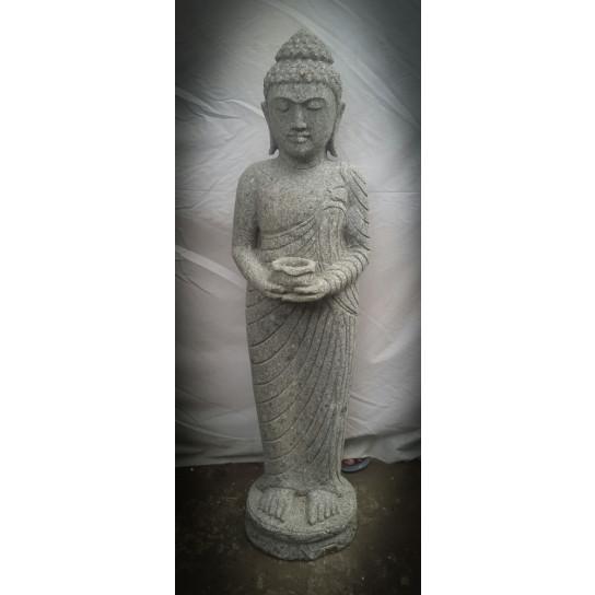 Statue en pierre volcanique Bouddha debout bol 1m