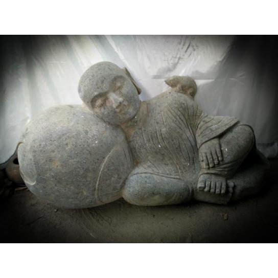 statue ext rieur de jardin zen moine shaolin en pierre 1 m. Black Bedroom Furniture Sets. Home Design Ideas
