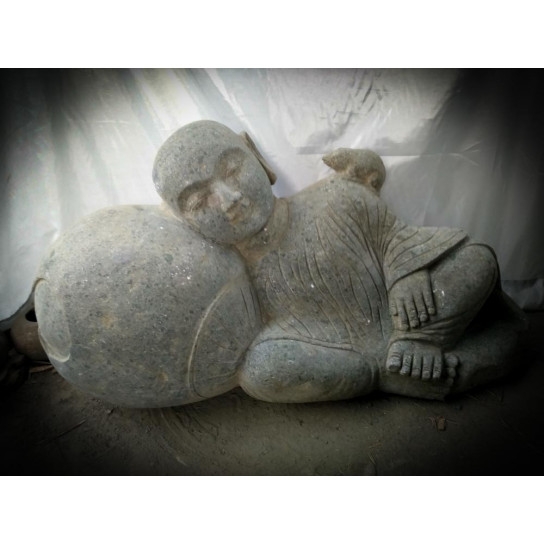 Statue ext rieur de jardin zen moine shaolin en pierre 1 m - Jardin zen exterieur ...