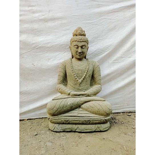 Statue exterieur jardin zen Bouddha en pierre volcanique assis collier 80 cm