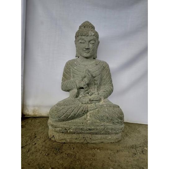 Statue jardin exterieur Bouddha assis pierre volcanique chapelet et sérénité 50 cm