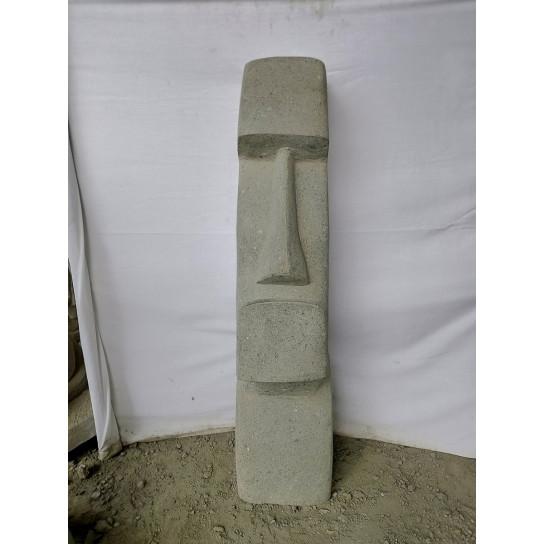 Statue jardin Moai en pierre volcanique 120 cm