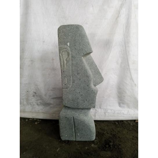 Statue jardin Moai en pierre volcanique 60cm