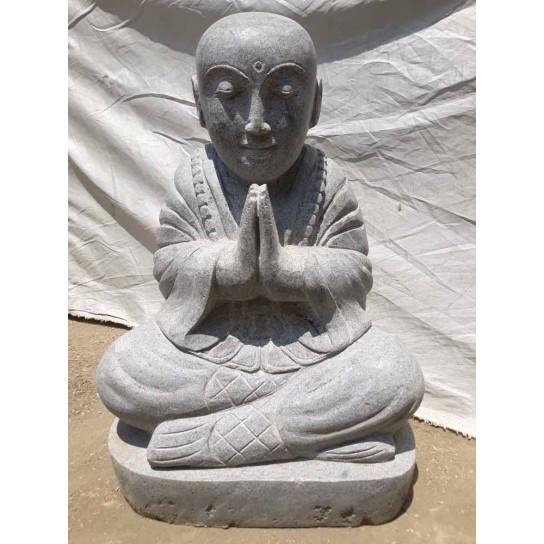 Statue jardin moine shaolin assis en pierre de lave 50 cm