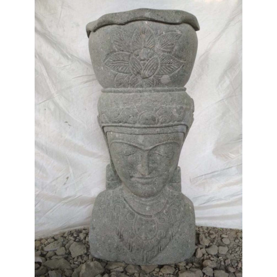 Statue Jardin Pot Déesse balinaise en pierre volcanique 80 cm