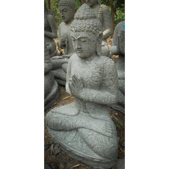 statue jardin zen bouddha assis en pierre volcanique pri re 84cm. Black Bedroom Furniture Sets. Home Design Ideas