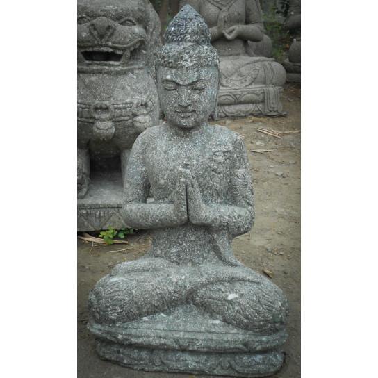 Statue Jardin Zen Bouddha Assis Pierre Volcanique Position
