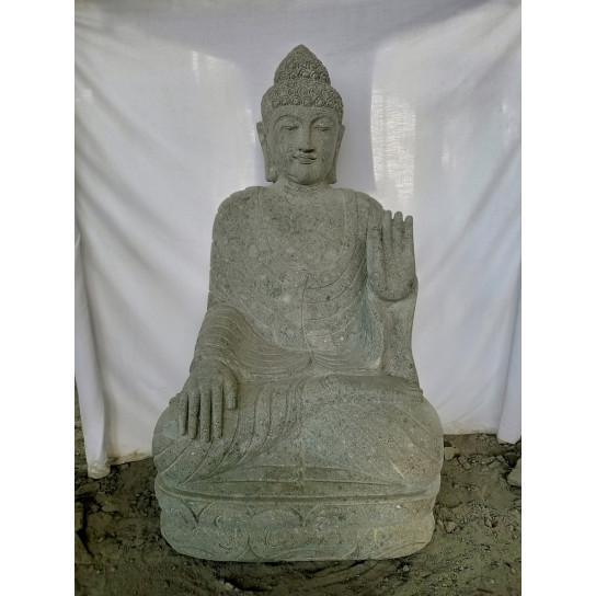Statue jardin zen Bouddha pierre volcanique position chakra 1,20 m