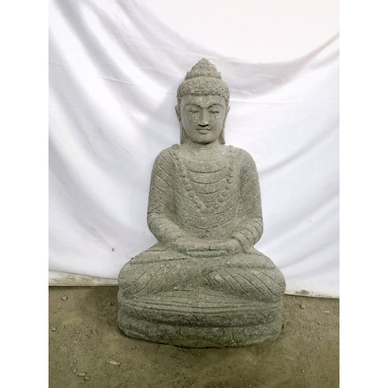statue jardin zen exterieur bouddha assis pierre volcanique collier 80 cm. Black Bedroom Furniture Sets. Home Design Ideas