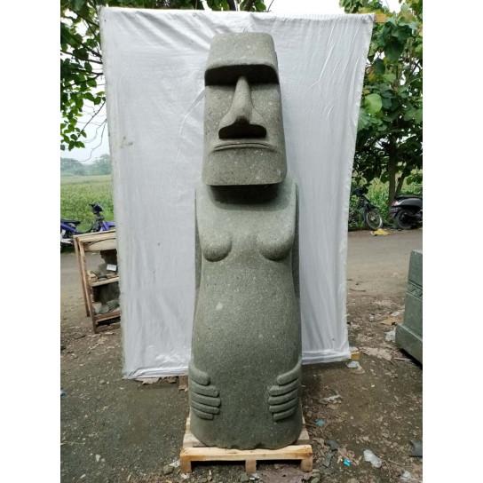 Statue jardin zen Moai de l'ile de pacques en pierre naturelle 200 cm