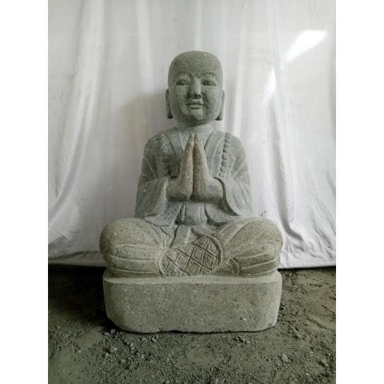 STATUE MOINE SHAOLIN ASSIS en pierre de lave 80 CM