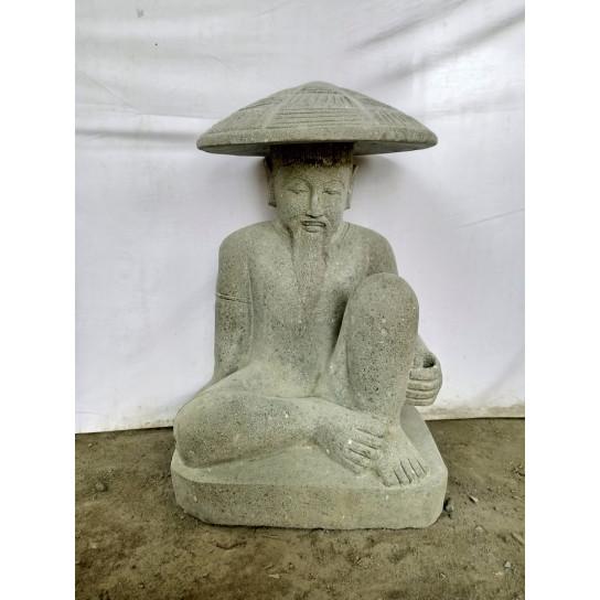 Statue pêcheur japon en pierre volcanique de 80 cm