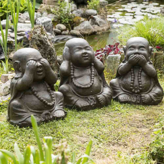 Ensemble statue de Bouddha heureux brun