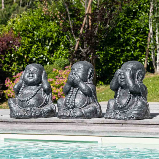 Statues de moine sagesse patiné gris 40 cm