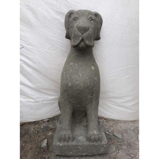 Stone sitting dog garden sculpture 80 cm
