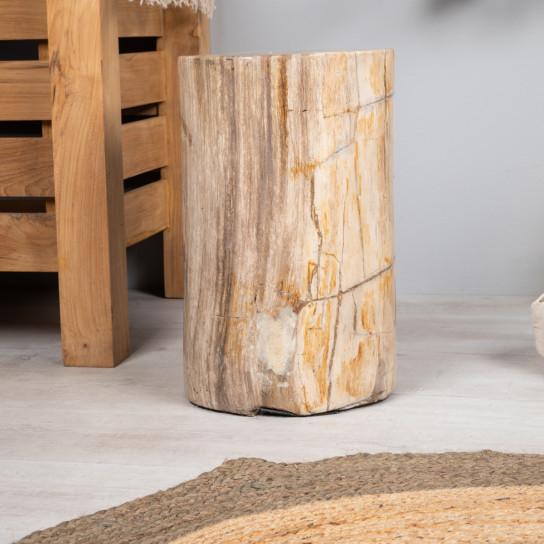 Tabouret bois pétrifié fossilisé