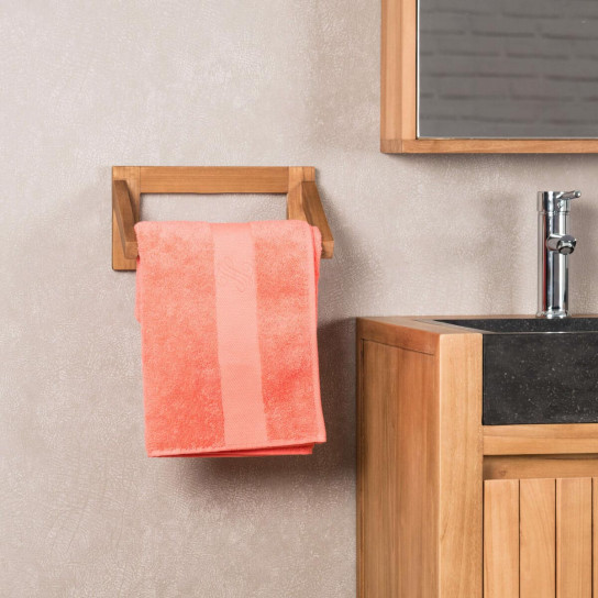 Teak wall-mounted towel holder