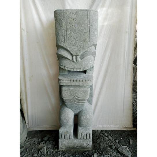 Tiki d'océanie statue de jardin en pierre volcanique 1.50m