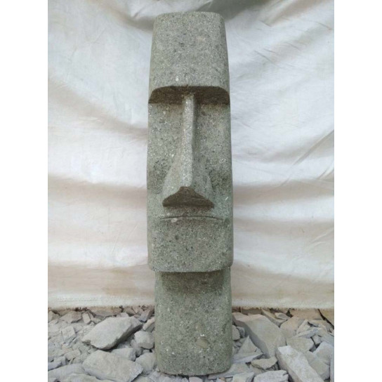 Tiki d'océanie statue jardin en pierre volcanique 1m50