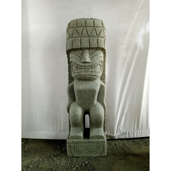 Tiki polinesio estatua de piedra volcánica 1 m