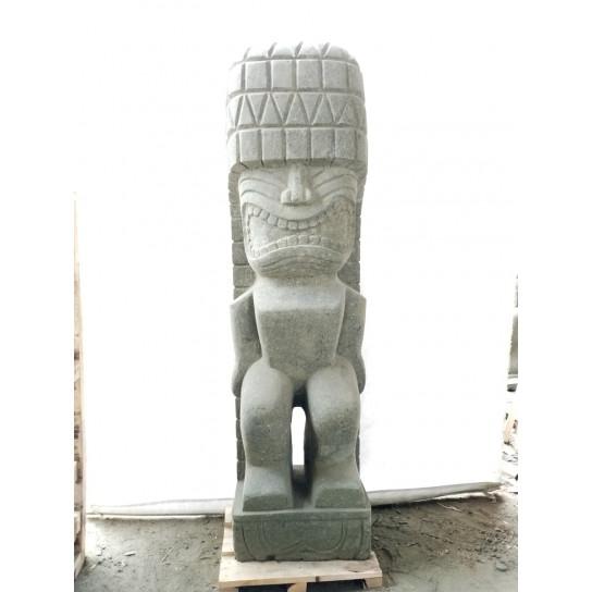 Tiki polynesien Rambut en pierre extérieur zen 1.50 m