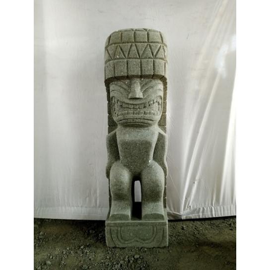 Tiki polynesien statue en pierre volcanique extérieur 1m