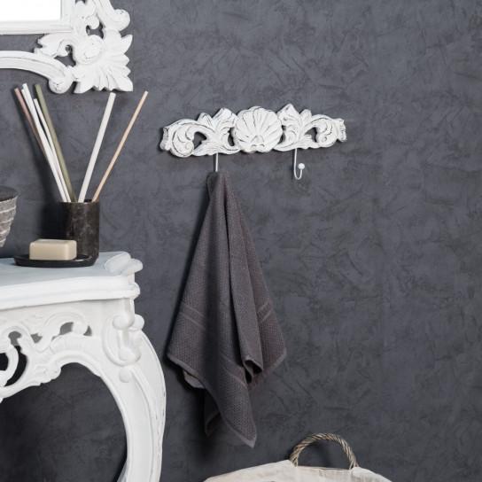 Toallero de pared doble gancho barroco blanco