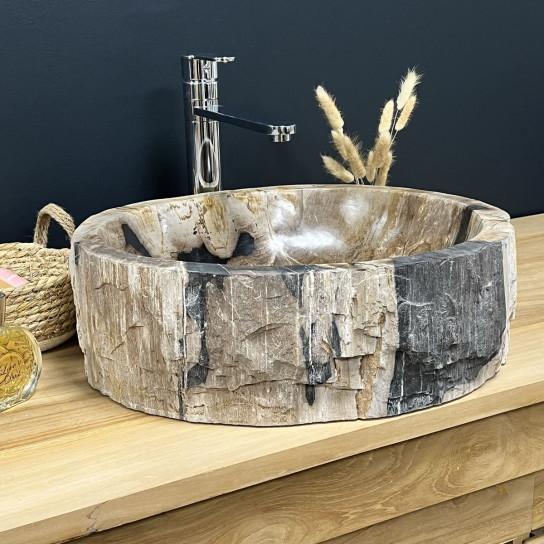 Vasque à poser unique en bois fossilisé noir