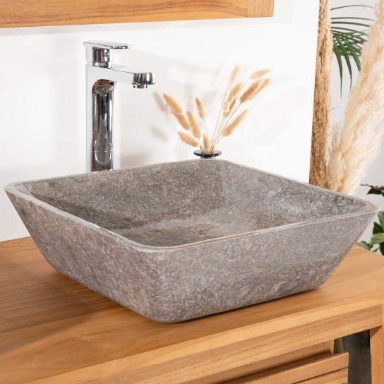 Vasque carré à poser salle de bain carmen 40cm grise