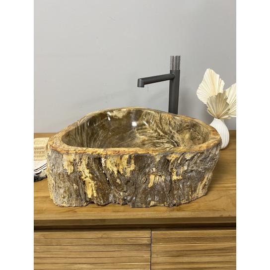 Vasque de salle de bain à poser en bois pétrifié fossilisé 55 CM
