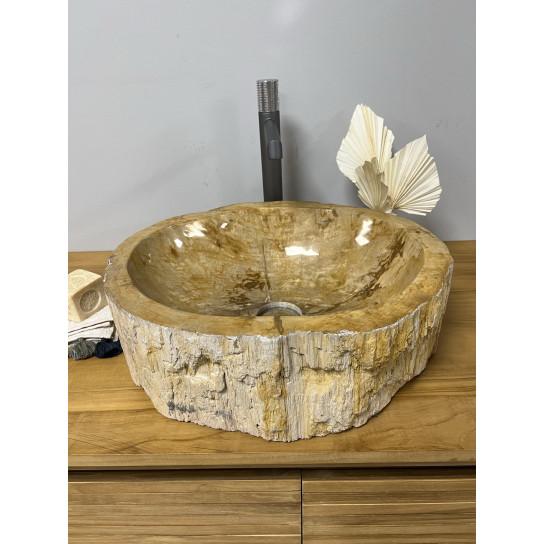 Vasque de salle de bain à poser en bois pétrifié fossilisé intérieur brun 45 CM