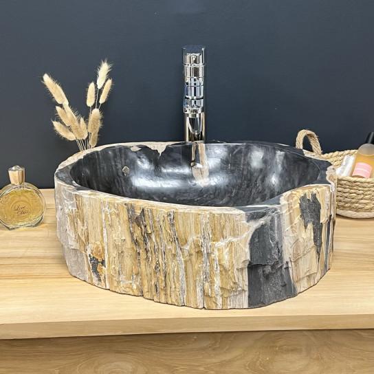 Vasque de salle de bain à poser en bois pétrifié fossilisé intérieur noir 45 CM