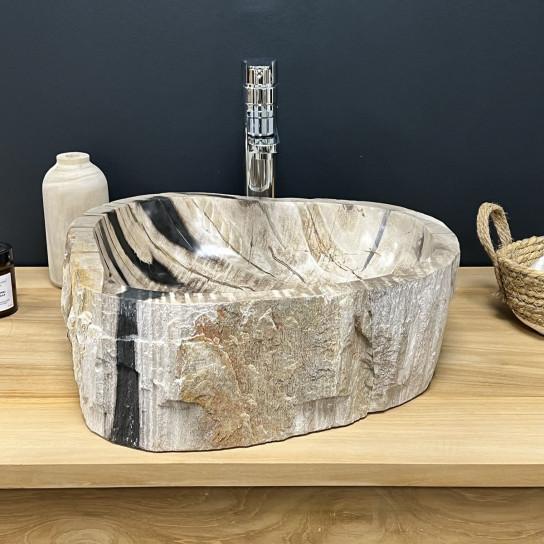 Vasque de salle de bain à poser en bois pétrifié fossilisé intérieur poli 55 CM