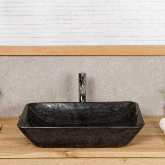 Vasque de salle de bain à poser en marbre CARMEN 60 CM noir