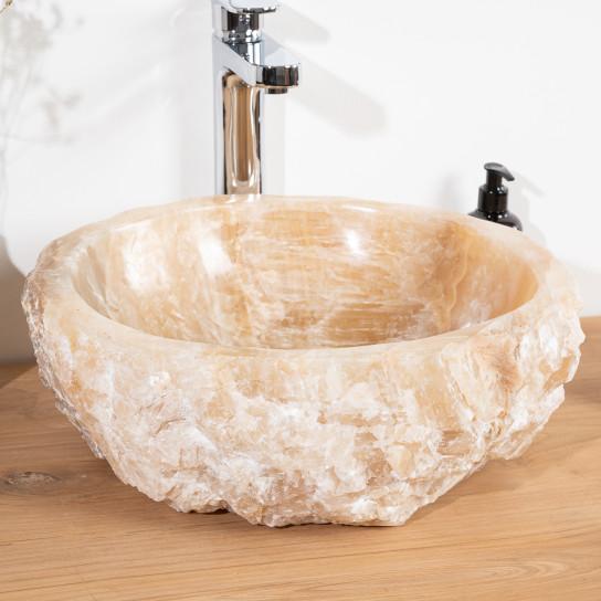 Vasque de salle de bain à poser en pierre Onyx 40 - 45 cm