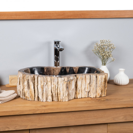 Double vasques de salle de bain en bois pétrifié fossilisé 53 CM