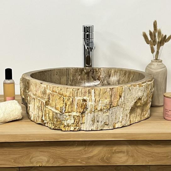 Vasque de salle de bain en bois pétrifié fossilisé marron beige 50 CM