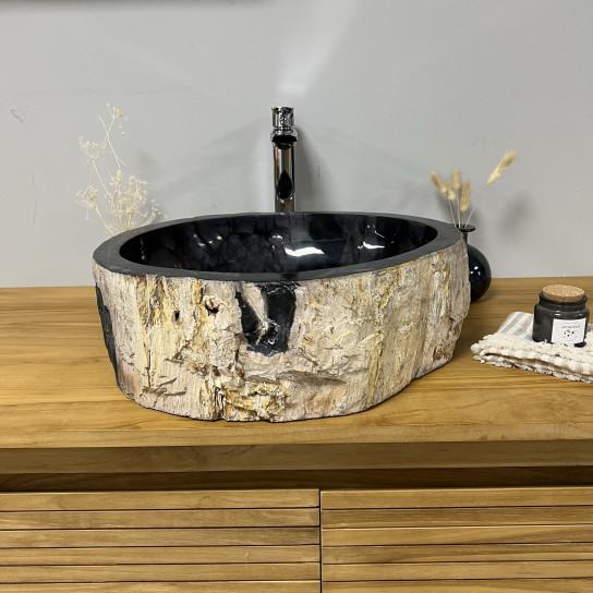 Vasque de salle de bain en bois pétrifié fossilisé 45 cm