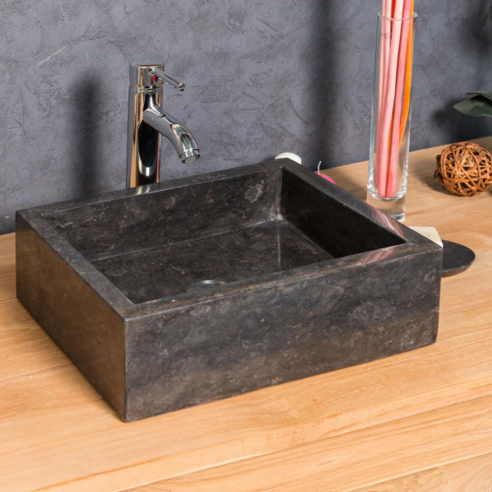 Vasque salle de bain à poser Milan rectangle 30cm x 40cm noir