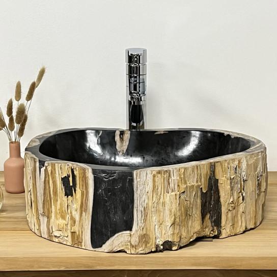 Vasque salle de bain en bois fossilisé pétrifié à poser noire
