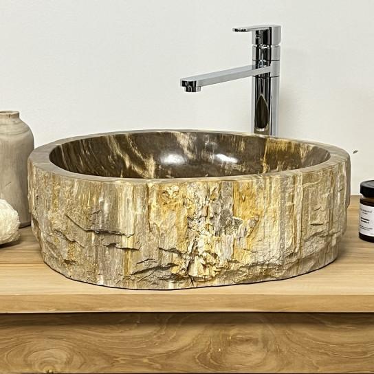 vasque salle de bain en bois pétrifié fossilisé BRUN 45 CM